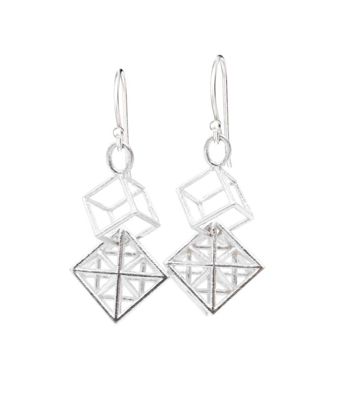 Metatron Cube Earrings - Long - Sterling Silver