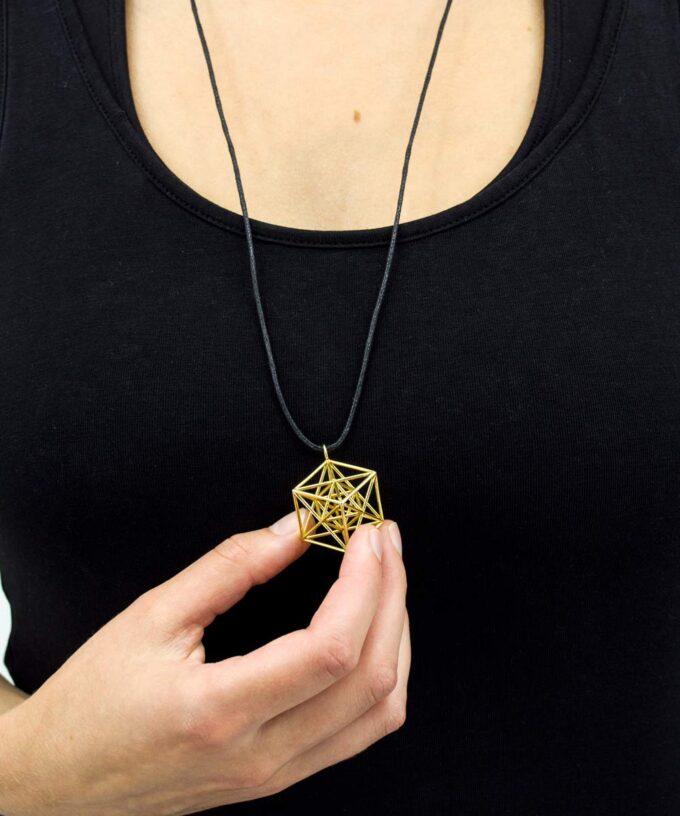Metatron Cube Pendant - Large - Brass