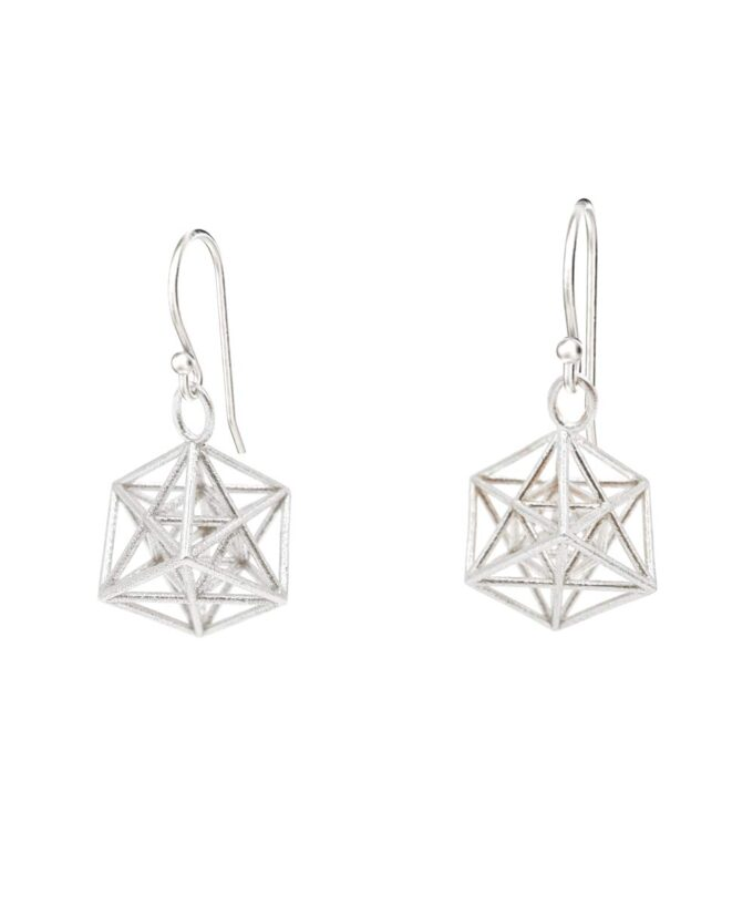 Metatrons Cube Earrings - Silver