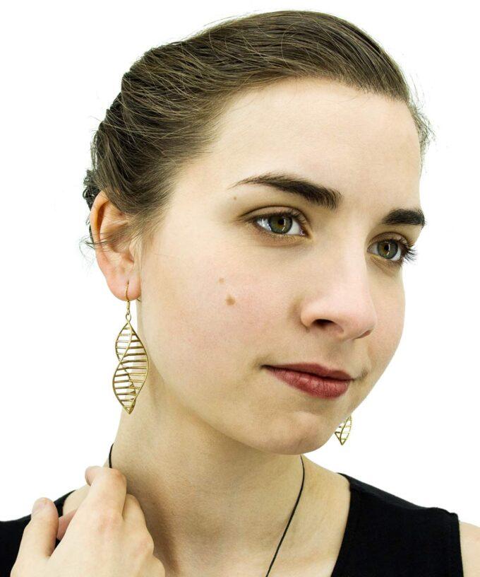 Triple-DNA-Earrings-Brass