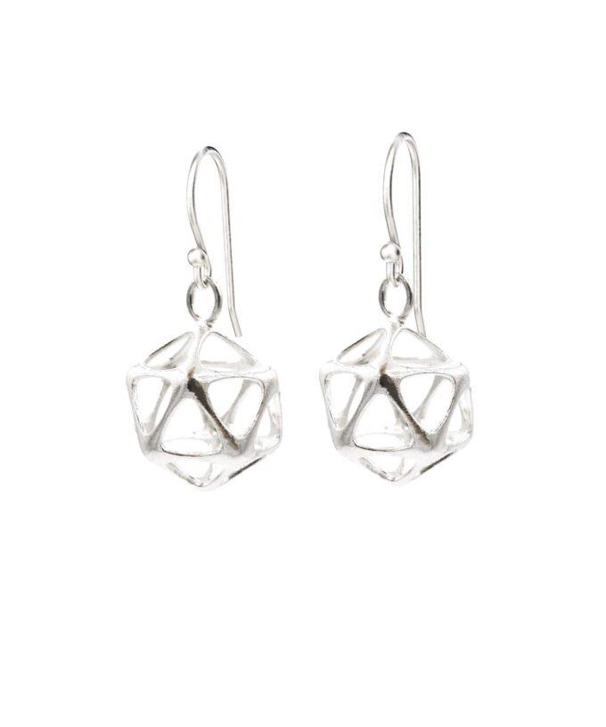 Icosahedron Earrings - Yin - Sterling Silver