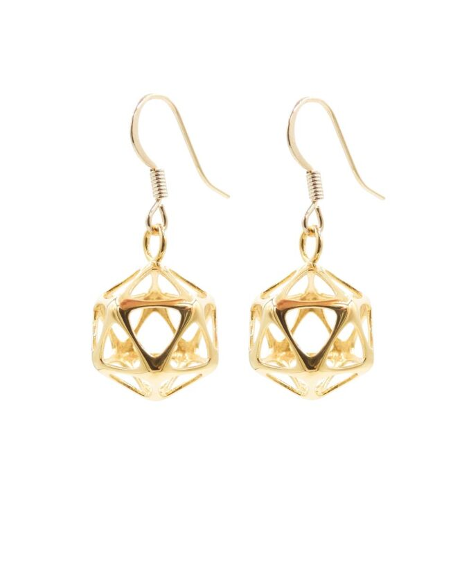 Icosahedron Earrings - Yin - Gold Plated Brass