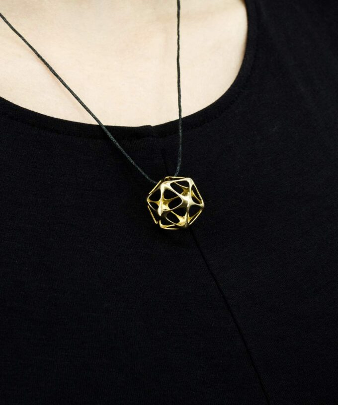 Icosahedron-Pendant-Brass